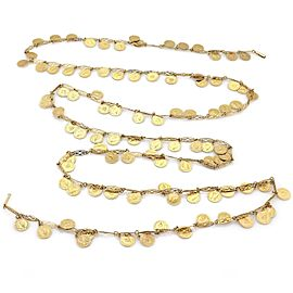 Vintage 18k Yellow Gold Multi Coin Charms Fancy Long Necklace 54""