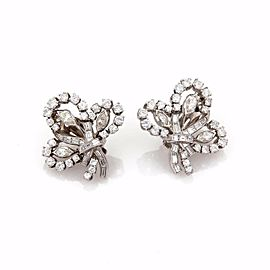 Vintage 4.5ct Diamond & Platinum Floral Post Clip Earrings 14k Gold Backs