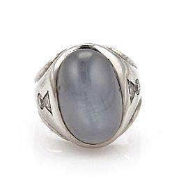 Vintage 40.60ct Star Sapphire & Diamond 14k White Gold Cocktail Ring Size 8