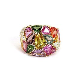 18k Yellow Gold 18.90ct Multicolor Sapphires & Diamond Wide Band Ring Size 6.5