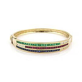 Estate 7.80ct Diamond Emerald Sapphire & Ruby 18k Yellow Gold Bracelet