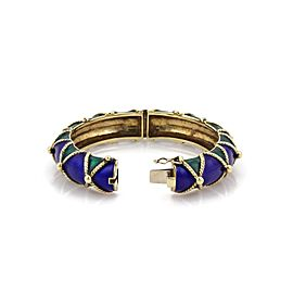 Retro Hefty 14k Yellow Gold Blue & Green Enamel Fancy Dome Bangle 84grams