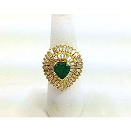 Estate 18k Y/Gold 6.75ct Heart Shape Emerald & Baguette Diamond Cocktail Ring