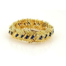 Estate Hefty 18k YGold & Lapis Textured Zig Zag Design 16mm Wide Bracelet