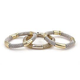 14k Two Tone Gold Set of 3 Bead Mesh Chain Tube Style Bracelet Bangle 105 grams
