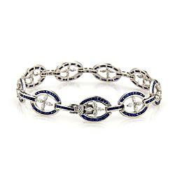 Platinum Estate 8.80ct Diamond & French Cut Sapphire Oval Floral Link Bracelet