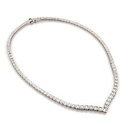 Estate 5.25ct Diamond 14k White Gold V Style Graduated Tennis Necklace
