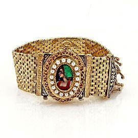 vintage Hidden Watch 14k Yellow Gold & Enamel Belt & Buckle Tassel Bracelet