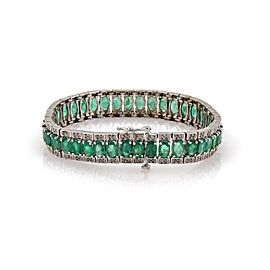 Estate 18.87ct Emerald &Diamond 14k White Gold Wide Flex Bracelet Appraisal