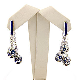 18K White Gold Faberge Enamel Egg Tassel Dangle Earrings