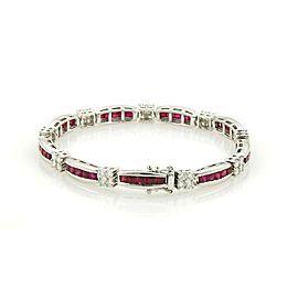 Estate 6.50ct Diamonds & Rubies Platinum Curve Bar Rosette Link Bracelet