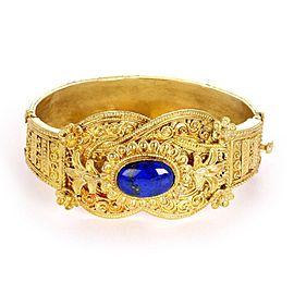 Estate Lapis 18k Yellow Gold Milgrain Floral Design Hinge Bangle Bracelet