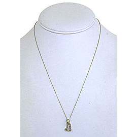 Solid Platinum 1.40ct Boot Cut Diamond Pendant & Chain Necklace