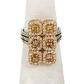 18k Rose & White Gold 3.02ctw Yellow Diamond 18k Gold Fancy Long Ring