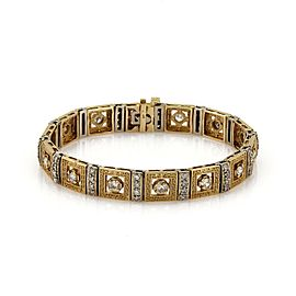 Versace Style 3.00ct Diamond 14k Two Tone Gold Fancy Design Square Link Bracelet