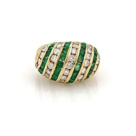 Hammerman Brothers 4.60ct Diamond & Emerald 14k Yellow Gold Dome Ring Size 6