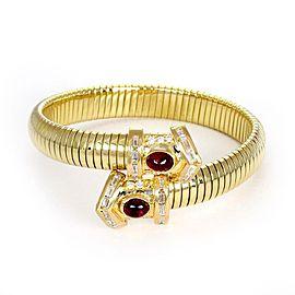 3.50ct Diamond & Ruby 18k Yellow Gold Flex Snake Design Cuff Bracelet