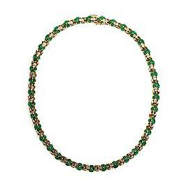 Estate 11 Carats Emerald & Diamond 14k Yellow Gold Collar Necklace