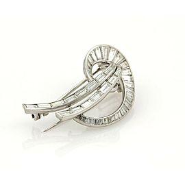 Estate 4.08ct Diamond & Platinum Ribbon Fancy Bow Brooch Pin