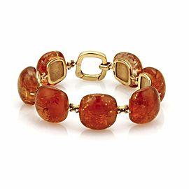 Estate 18k Yellow Gold Large Amber Link Fancy Bracelet