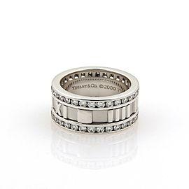 Tiffany & Co. ATLAS Diamond 18k White Gold Roman Numeral Band Ring Size 5