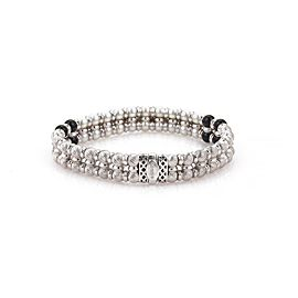 Zancar Diamond Pearls & Onyx 18k White Gold 2 Rows Beaded Bracelet
