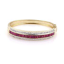 5.25ct Ruby Diamond 14k Two Tone Gold Fancy Scallop Edge Bangle Bracelet