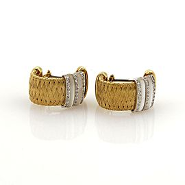 Roberto Coin Diamonds Mother of Pearl 18k Gold Basket Woven Hoop Earrings Box