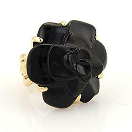 59772 Chanel Camellia Carved Onyx Flower 18k Yellow Gold Ring Size 6
