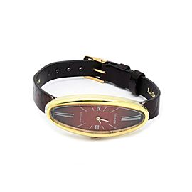 59755 Tissot Stylist 18k Gold Case Hand Winding Oval Leather Band Ladies Watch