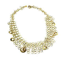Designer Signed Calantini 18k Yellow Gold Multi Ring Bib Necklace