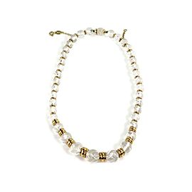 Boucheron 18k Yellow Gold Rock Crystal Graduated Bead Necklace