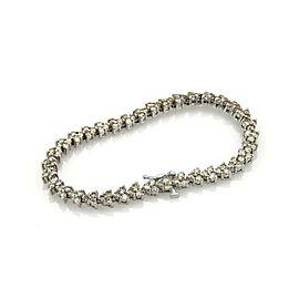 Estate 6ct Diamond 14k White Gold Triangular 3 Prongs Set Tennis Bracelet