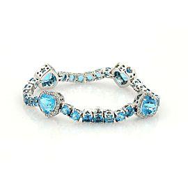 Gorgeous 27ct Diamonds & Blue Topaz 18k White Gold Four Hearts Bracelet