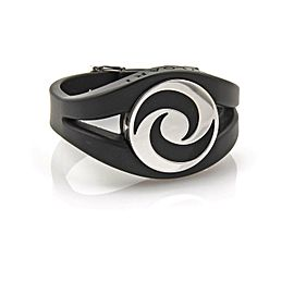 Bulgari Bvlgari Optical Spinning Onyx 18k White Gold Rubber Buckle Bracelet