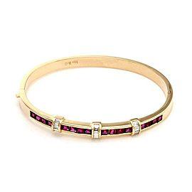 Estate 3.20ct Ruby & Diamond 14k Yellow Gold Bangle Bracelet