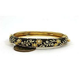 Estate Diamond 14k Yellow Gold Black Enamel Floral Bangle Bracelet