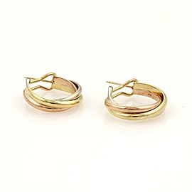 Cartier TRINITY 18k Tri-Color Gold Medium Size Interlaced Hoop Earrings