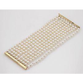 Vintage Multi-Strand 6.2mm Akoya Pearls 14k Yellow Gold Wide Bracelet