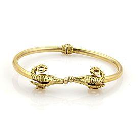 Vintage 18k Yellow Gold Double Ram's Head Flex Cuff Bangle Bracelet