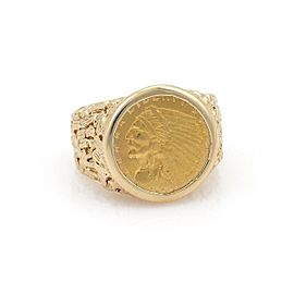 Men's Vintage 22k Indian Head Liberty Gold Coin 14k Gold Nugget Ring