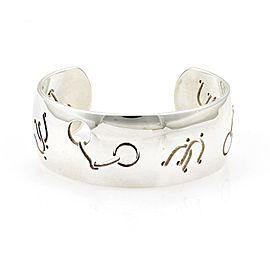 "Hermes Pierced Symbols Sterling Silver 1"" Wide Cuff Bracelet France"