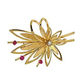 Tiffany & Co. Vintage 14k Yellow Gold & Ruby Floral Sprig Brooch Pin Germany