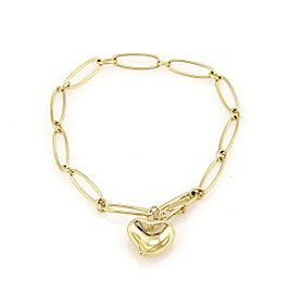 18K Yellow Gold Tiffany & Co. Elsa Peretti Spain Bracelet w/ Curved Heart Charm