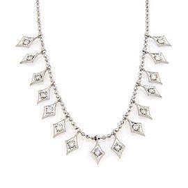 Estate 14K White Gold Italian Beaded Diamond Dangle Necklace