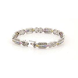 Estate 14K White Gold Diamond & Rainbow Sapphire Link Bracelet