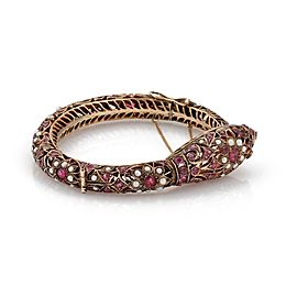 Victorian Style 4ct Ruby Seed Pearls 9k Rose Gold Snake Eternal Filigree Bangle