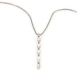 Estate 18K White Gold Fancy Diamond Dangle Pendant Necklace
