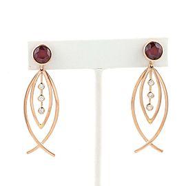 Estate 6.20ct Ruby & Diamond 18k Rose Gold Drop Dangle Earrings
