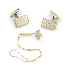 Estate Platinum & 18K Yellow Gold Diamond Cufflink and Tie Tack Set